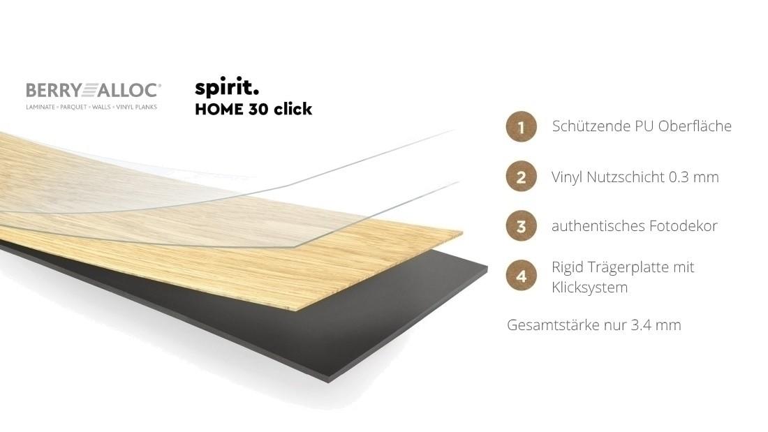 BerryAlloc Spirit Home Click 30 Rigid Klick-Vinyl french light Designboden Klicksystem mit Klicksystem, 1210 x 176,6 x 3,4 mm, NS: 0,3 mm, NK 23/31 günstig online kaufen, HstNr.: 60001328