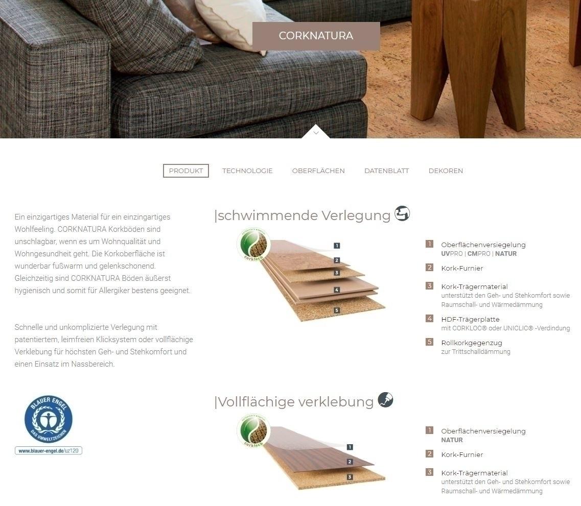 Cortex Corknatura Korkparkett Korkboden Spurt schotter lackiert Planke 905 x 295 mm, 10,5 mm Stärke, 2,136 m² pro Paket Preis günstig Kork-Bodenbelag kaufen von Bodenbelag-Hersteller Cortex HstNr: BLV0010