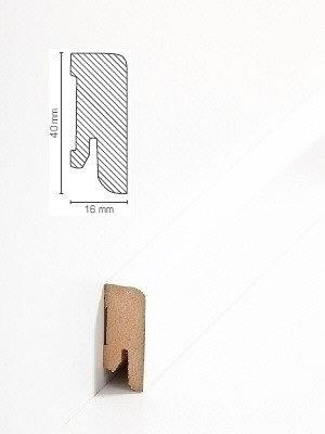 Südbrock Sockelleiste MDF Fussleiste, MDF-Kern mit Dekorfolie ummantelt Weiß 16 x 40 mm, Länge 2500 mm, günstig Leisten Sockel Profile online kaufen von Hersteller Südbrock *** ACHTUNG - lieferbar ab 80 EUR Warenwert Sockelleisten *** HstNr: sbs716331