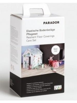 Parador Bodenpflege Set: 750 ml Vollpflege matt, 750 ml PU Reiniger, Pad weiß, Pflegeanleitung für Vinyl Böden Designboden Pflegeset elastische Böden